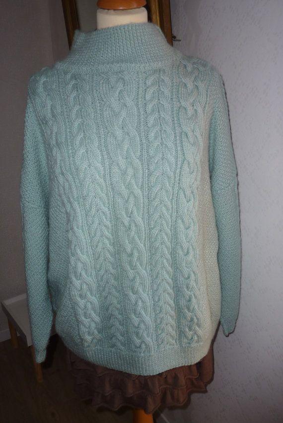 Pull femme tricot fait main