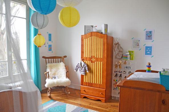 Chambre bébé jaune et bleu - Idées de tricot gratuit