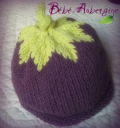 Tricot bonnet bébé aubergine