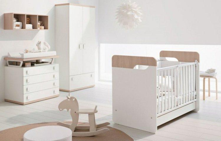 Chambre bébé blanc et bois - Idées de tricot gratuit