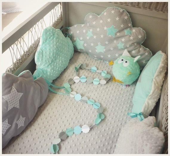 Chambre bebe gris et vert d\'eau - Idées de tricot gratuit
