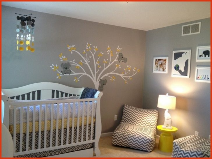 Chambre bebe jaune blanc gris