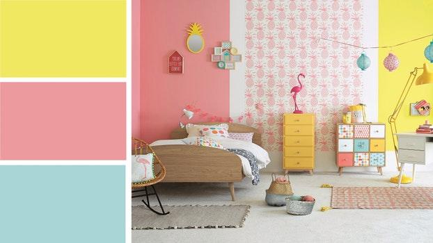 Chambre b b rose et jaune id es de tricot gratuit - Ambiance chambre fille ...