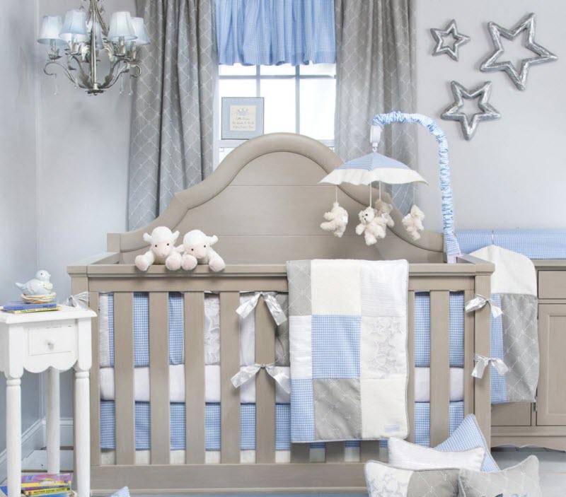 Chambre bébé gris blanc bleu - Idées de tricot gratuit