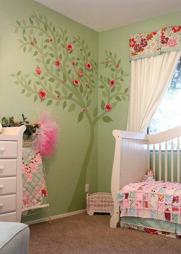 Chambre bébé fille vert anis