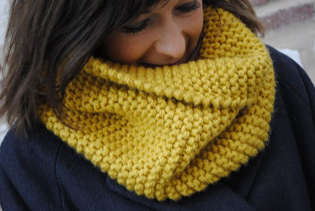 Tricot point mousse snood