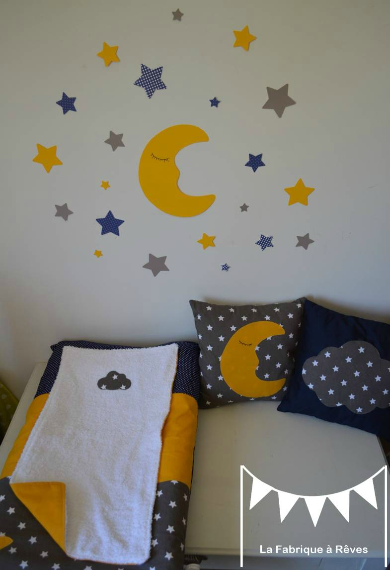 Chambre bebe bleu jaune gris
