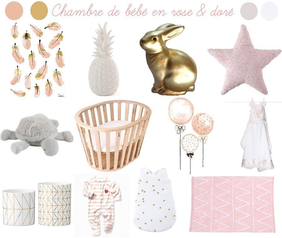 Chambre bebe rose et doré