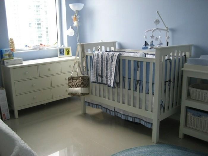 Chambre bebe blanc bleu gris