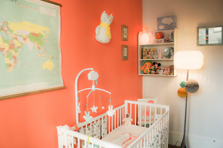 Deco chambre bebe mur orange