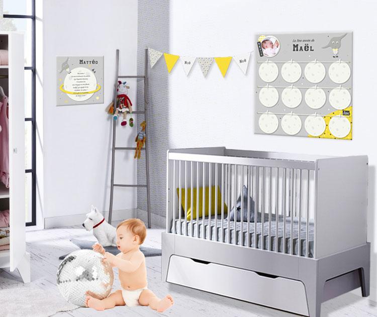 Decoration chambre bebe gris jaune - Idées de tricot gratuit