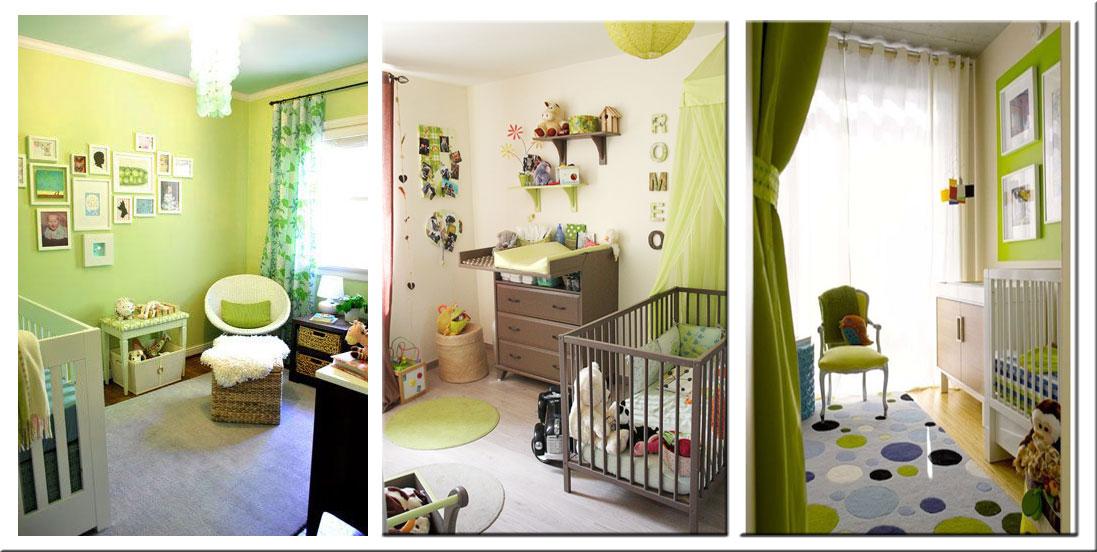 Chambre bébé garçon gris et vert