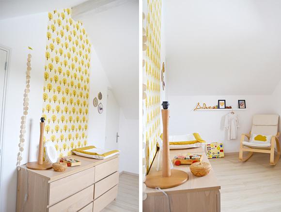 Papier peint jaune chambre bebe