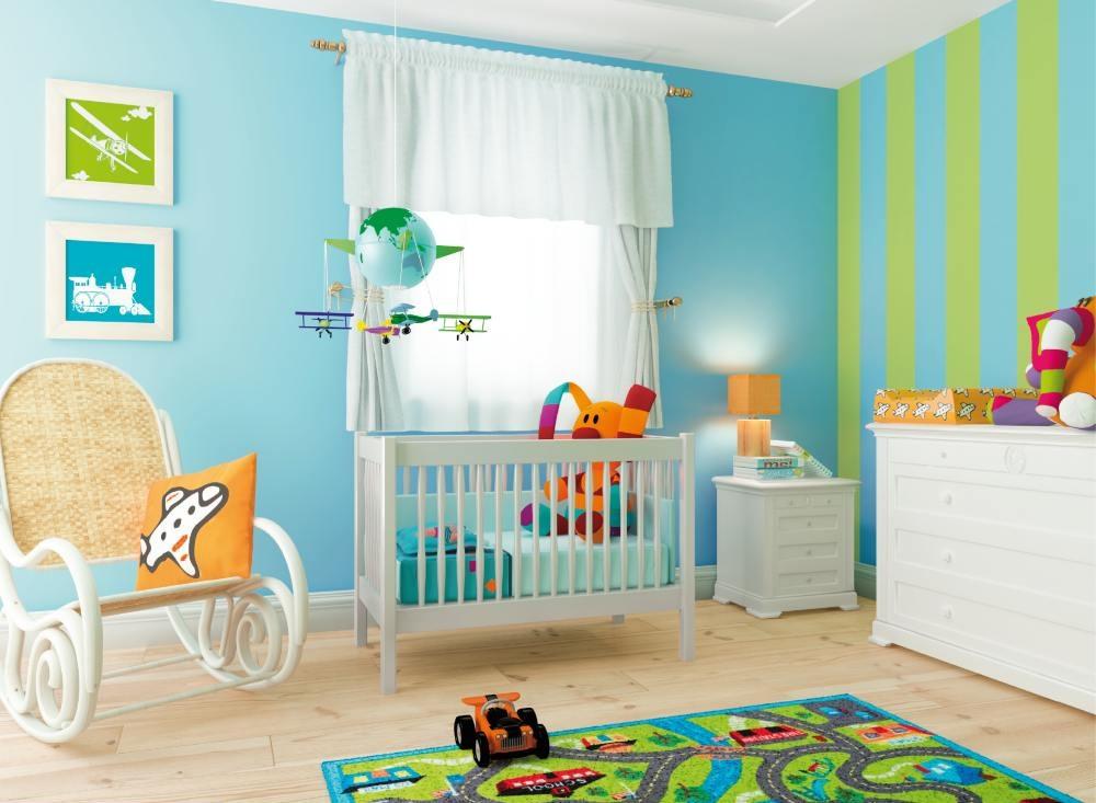 Chambre bebe garcon bleu et jaune id es de tricot gratuit - Chambre garcon et fille ensemble ...