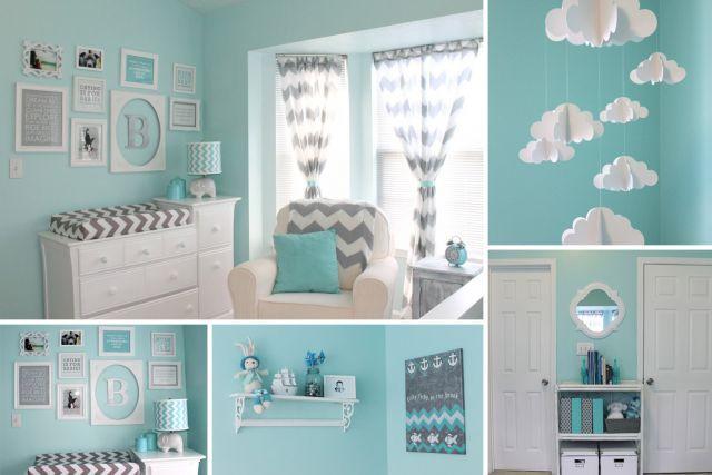 Chambre bébé garçon taupe et bleu - Idées de tricot gratuit