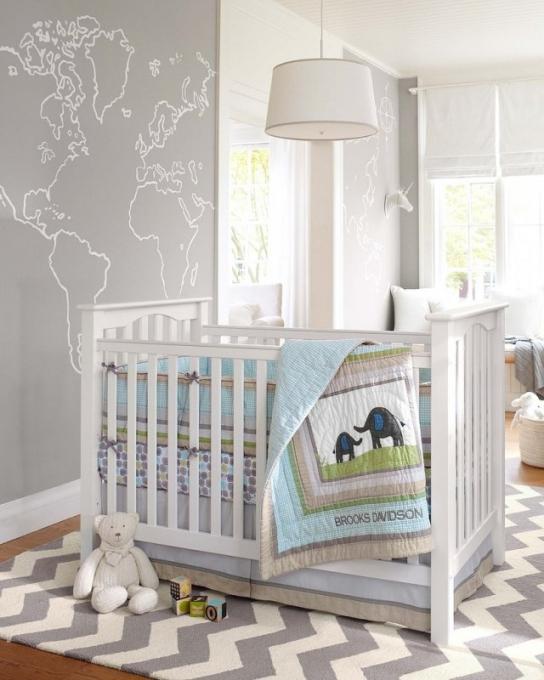 Chambre bebe mur blanc et gris - Idées de tricot gratuit