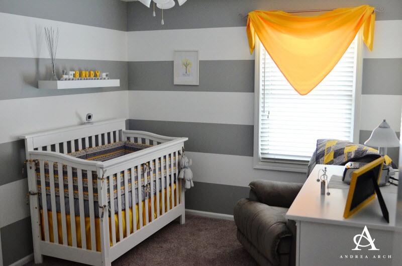 Chambre bébé garçon gris et jaune - Idées de tricot gratuit