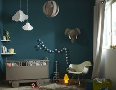 Chambre bebe garcon taupe bleu