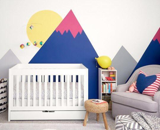 Stickers chambre bébé montagne