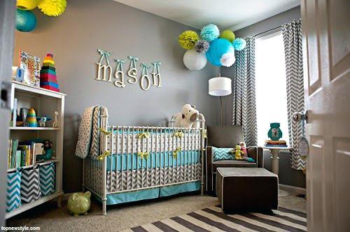 Chambre de bebe vert et bleu