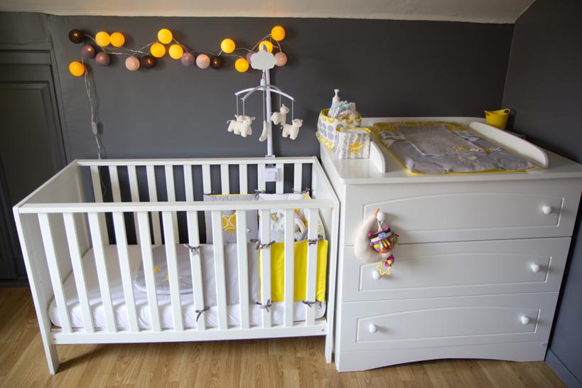 Deco chambre jaune et gris bebe
