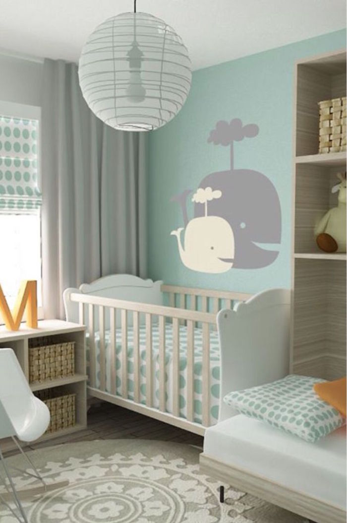 Decoration chambre bebe vert menthe id es de tricot gratuit - Decoration chambre de bebe mixte ...
