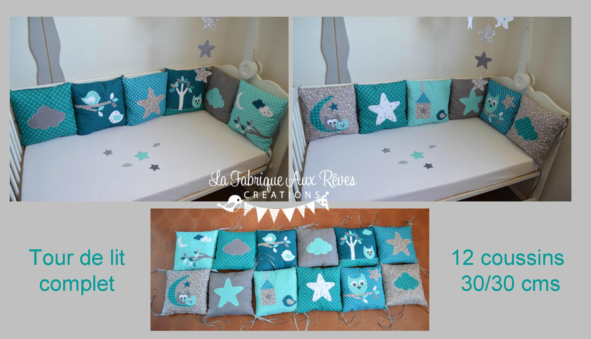 Chambre bebe turquoise gris