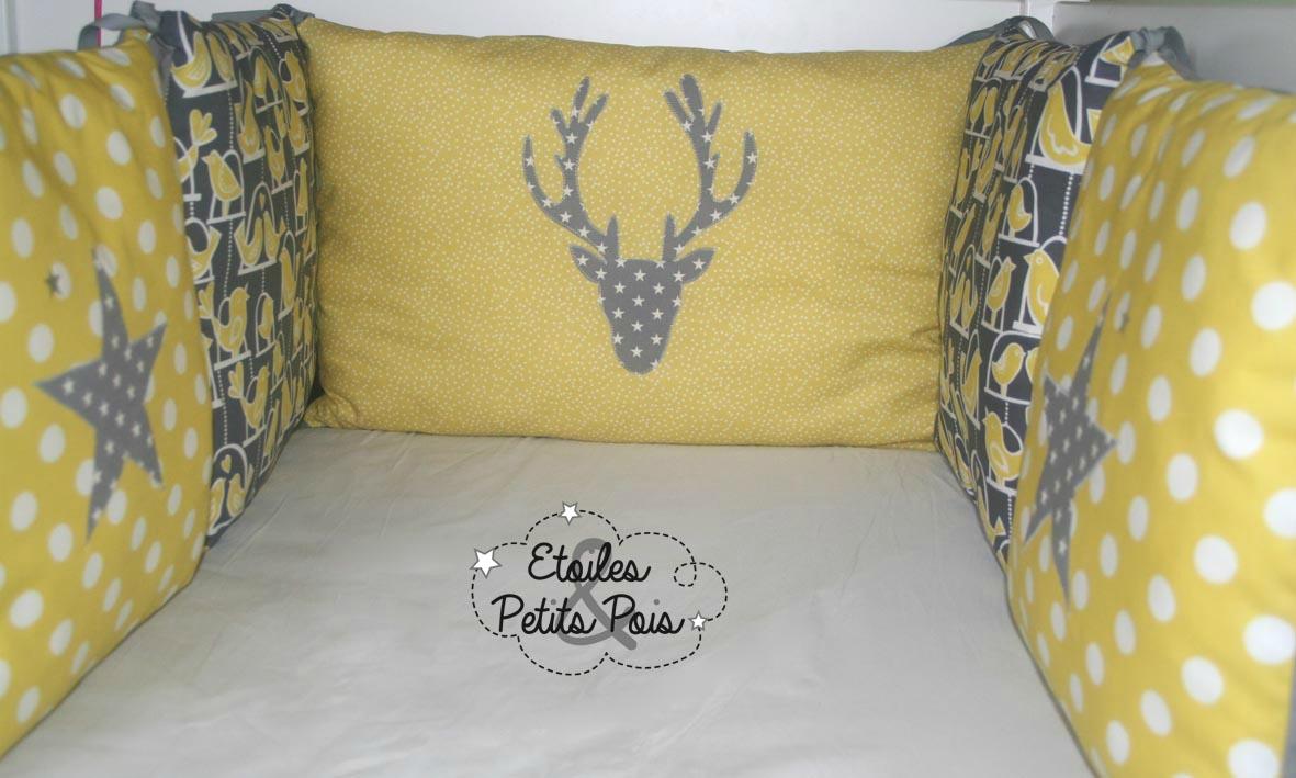 Tour de lit bebe jaune gris blanc - Idées de tricot gratuit