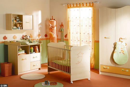 Charmant Chambre Bébé Orange Et Vert