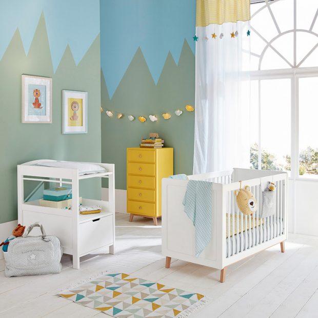 Decoration chambre bebe jaune et bleu - Idées de tricot gratuit