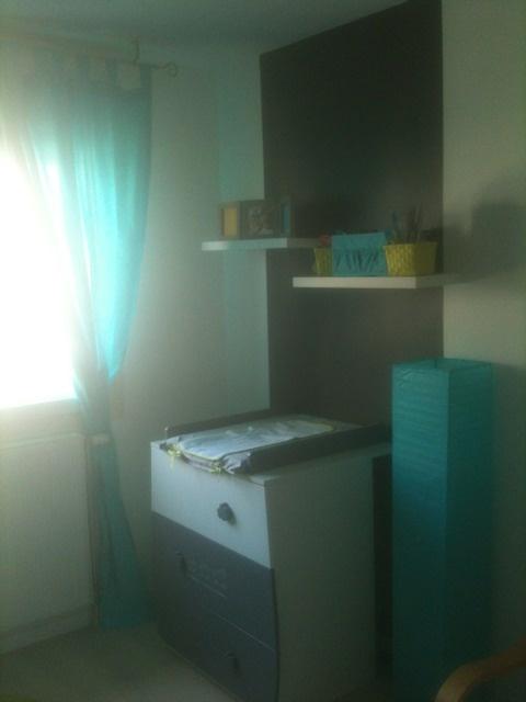 Chambre bébé vert anis et turquoise