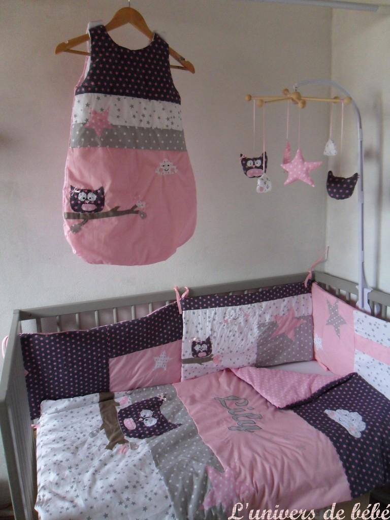 Tour de lit bébé fille rose et gris - Idées de tricot gratuit