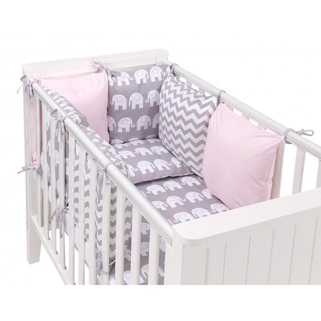 Tour de lit bébé gris et rose - Idées de tricot gratuit