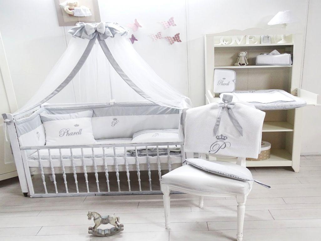 Parure de lit bébé gris et blanc