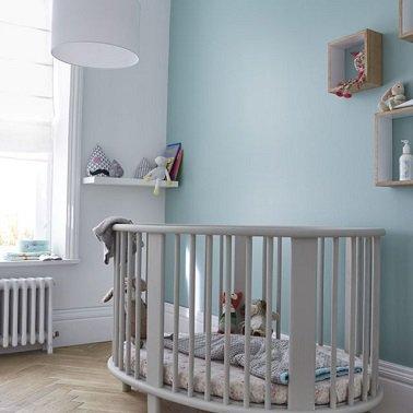 Chambre bebe bleu pastel et gris - Idées de tricot gratuit