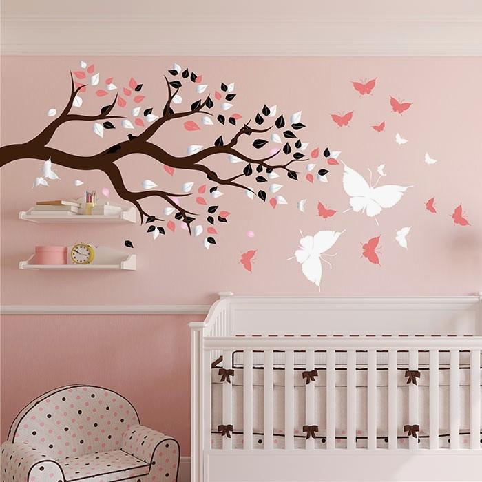 Stickers chambre bébé fille rose et gris - Idées de tricot gratuit