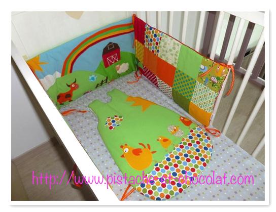 Tour de lit bébé animaux de la ferme